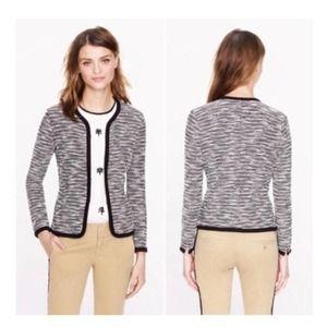J.CREW Sweater Jacket Black White Melange M NWT